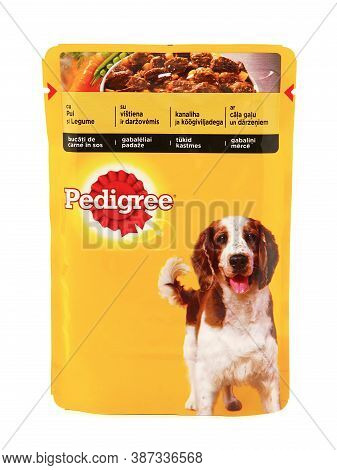 Bucharest, Romania - January 10, 2016. Pedigree, Pouches Of Wet Food For Dog Isolate On White