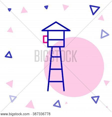 Line Watch Tower Icon Isolated On White Background. Prison Tower, Checkpoint, Protection Territory,