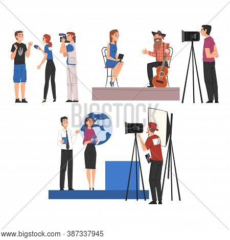 Television Industry, Journalists Taking Interview And Cameramen Shooting With Video Camera Cartoon S