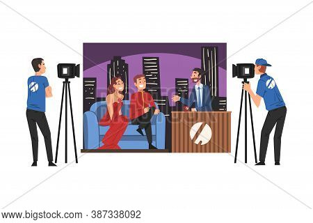 Tv Show Interview With Famous Persons, Television Industry Concept Cartoon Style Vector Illustration