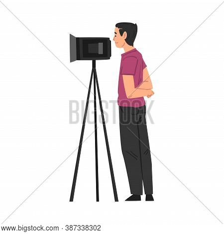 Video Operator Looking Through Camcorder On Tripod, Television Industry Concept Cartoon Style Vector