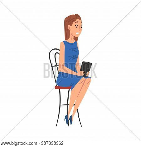 Woman Journalist Sitting On Chair Interviewing Somebody, Television Industry Concept Cartoon Style V