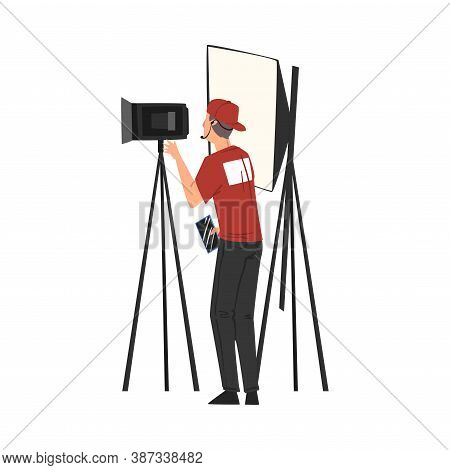 Cameraman Shooting With Professional Video Camera On Tripod, Television Industry Concept Cartoon Sty