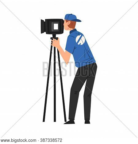 Male Cameraman Shooting With Video Camera On Tripod, Television Industry Concept Cartoon Style Vecto