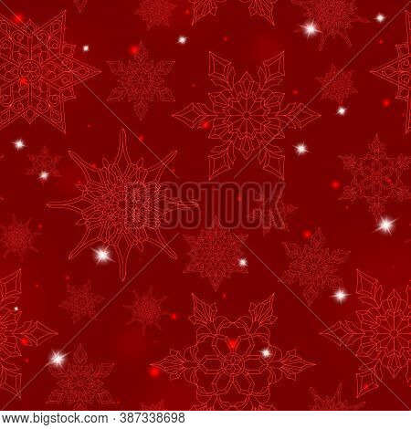Seamless Pattern On The Theme Of Winter And Winter Holidays, The Contour Of The Snowflake And Flare,