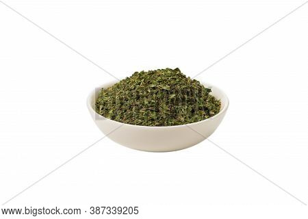 Dry Mint In A Bowl Isolated On White Background.