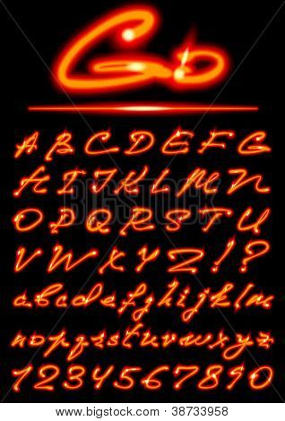 vector fire transparent Alphabet, uppercase and lowercase letters, digits