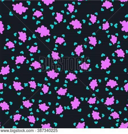 Line Voice Recognition Icon Isolated Seamless Pattern On Black Background. Voice Biometric Access Au
