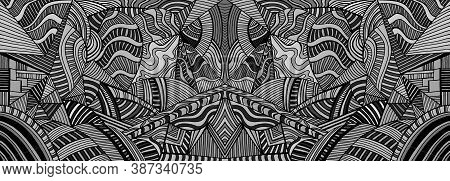 Mirror Monochrome Psychedelic Background With Many Crazy Geometric Pattern. Abstract Black And Gray