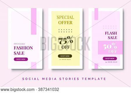 Fashion Sale Social Media Stories Post With Pink Pastel Color. Trend Feminine Design With Geometric