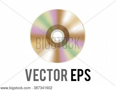 The Isolated Vector Gold Optical Computer Disc Icon, Used To Represent Cd, Dvd And Related Film, Mus