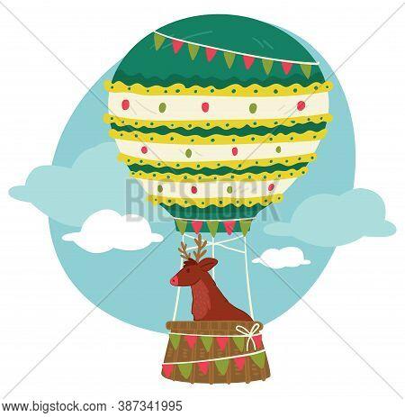 Christmas Reindeer Flying In Hot Air Balloon Vector
