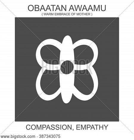 Vector Icon With African Adinkra Symbol Obaatan Awaamu. Symbol Of Compassion And Empathy