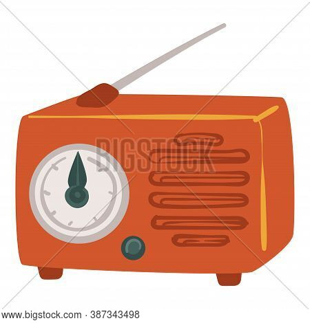 Vintage Radio With Antenna, Screen With Frequency