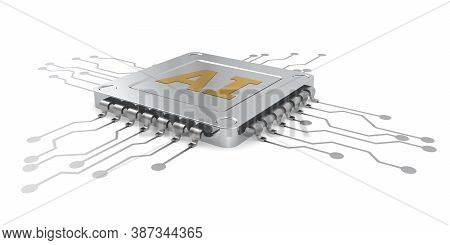 Ai Computer Chip Isolated On White Background, 3d Rendering