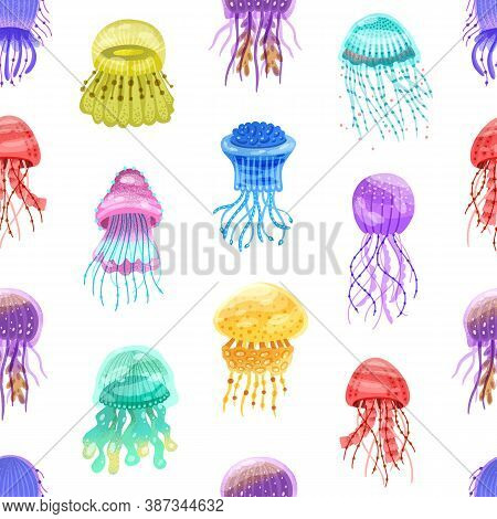 Seamless Pattern Of Motley Gradient Jellyfish. Swimming Glowing Colorful Medusa On Repeatable Backgr