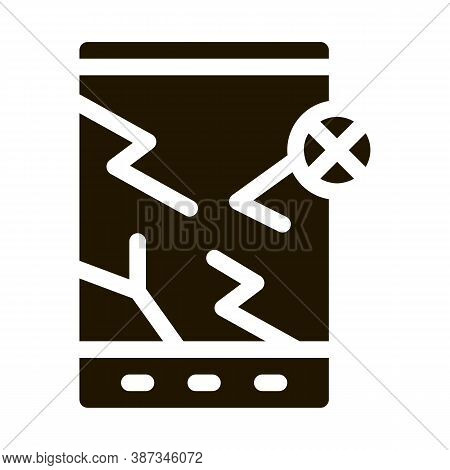 Wrecked Tablet Glyph Icon Vector. Wrecked Tablet Sign. Isolated Symbol Illustration
