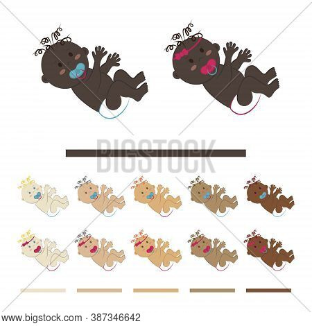 A Curly-haired Baby With A Pacifier In A Diaper Lies On His Back. Set Of Vector Cliparts Of Small Ch