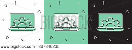 Set Laptop And Gear Icon Isolated On White And Green, Black Background. Adjusting App, Setting Optio