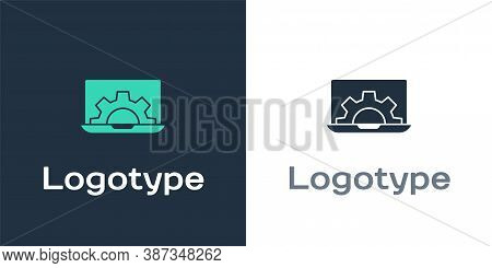 Logotype Laptop And Gear Icon Isolated On White Background. Adjusting App, Setting Options, Maintena