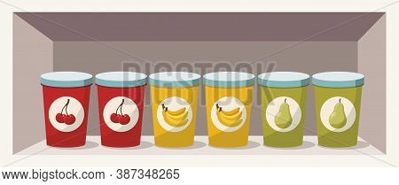 Variation Of Fruit Yoghurts: Cherry, Banana And Pear On A Shelf
