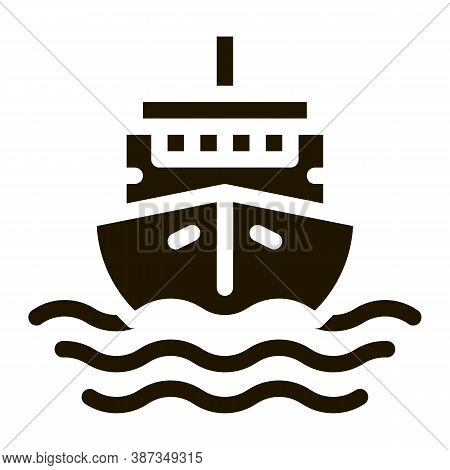 Cruise Vessel Glyph Icon Vector. Cruise Vessel Sign. Isolated Symbol Illustration