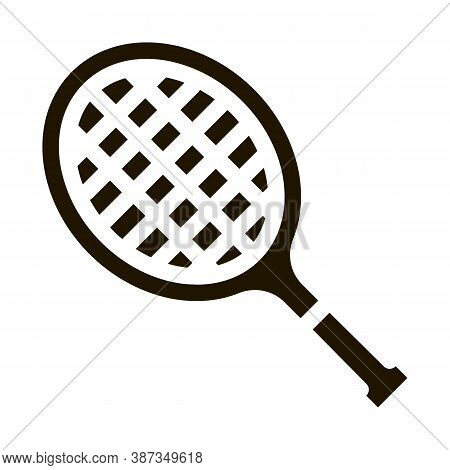 Tennis Racket Glyph Icon Vector. Tennis Racket Sign. Isolated Symbol Illustration