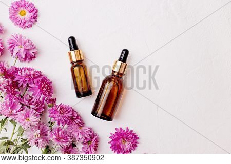 Flat Lay Of Droppers Glass Bottle Skincare Essential Oil Products For Mock Up In Minimal Style With