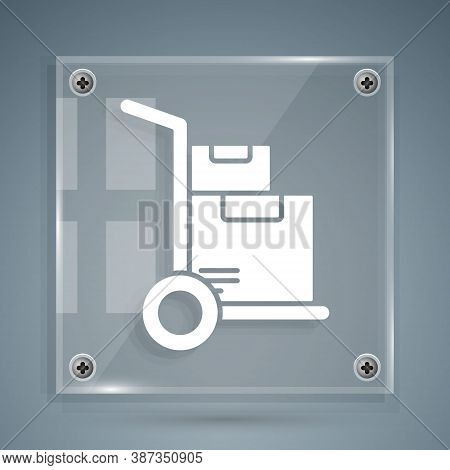 White Hand Truck And Boxes Icon Isolated On Grey Background. Dolly Symbol. Square Glass Panels. Vect