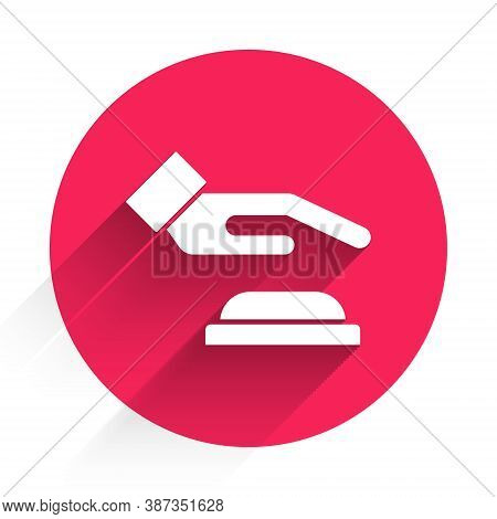 White Palm Print Recognition Icon Isolated With Long Shadow. Biometric Hand Scan. Fingerprint Identi