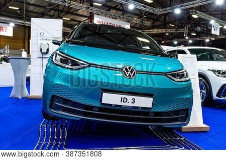 Riga, Latvia, Sep 25, 2020:  Volkswagen Id.3 Electric Car  Premiere At A Motor  Show, 2020 Model, Fr