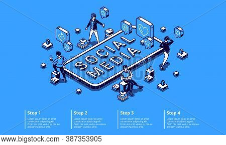 Social Media Isometric Infographic Concept With Tiny Characters Using Gadgets, Working On Computer,