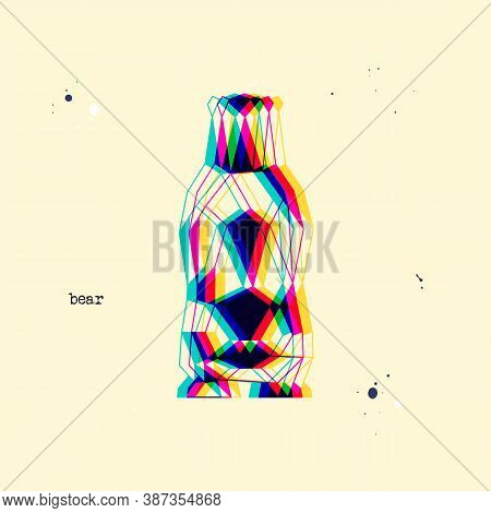 Polygon Stereoscopic Bear Silhouette. Low Poly Animal. Abstract Geometric Logo Icon. Triangle Graphi