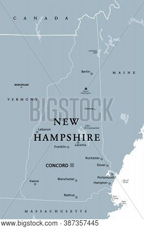 New Hampshire, Nh, Gray Political Map, With Capital Concord. State In The New England Region Of Unit