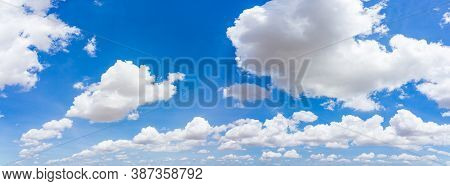 Panorama Blue Sky And Clouds With Daylight Natural Background.