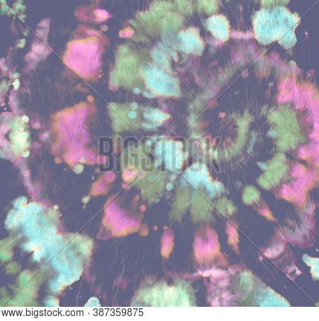 Tie Dye Circle. Rainbow Batik Fabric. Light Psychedelic Backdrop. Tye Dye Swirl Painting. Unicorn Ab