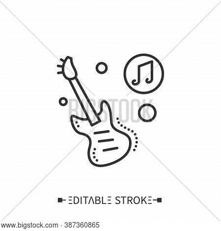 Bass Guitar Line Icon. Modern Stringed Electric Musical Instrument With A Bass Amplifier. Classical,
