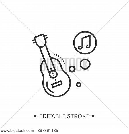 Guitar Line Icon. Classical Acoustic Stringed Orchestral Musical Instrument. Classical, Ethnic And C