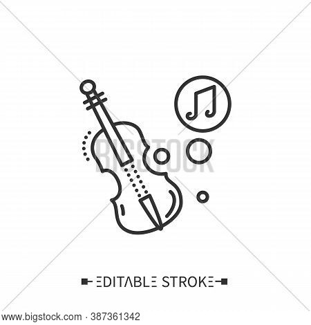 Violin Line Icon. Classical Stringed Orchestral Musical Instrument. Classical, Ethnic And Contempora