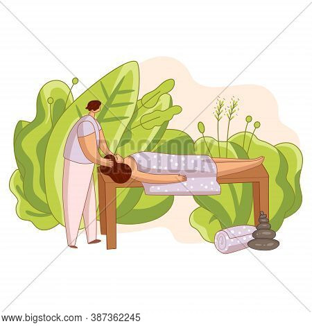 Man Doing Head Massage And Spa Procedures For Woman In Cozy Atmosphere With Green Leaves, Oriental S