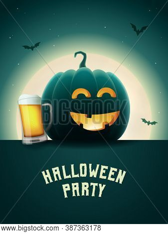 Halloween Pumpkin Beer Party Poster. Drunk Jack-o-lantern With Beer Mug. Scary Background With Moon