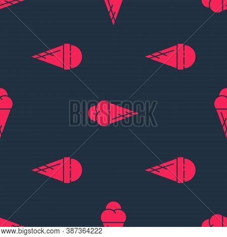 Set Ice Cream In Waffle Cone And Ice Cream In Waffle Cone On Seamless Pattern. Vector