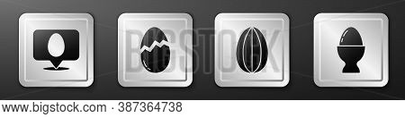 Set Speech Bubble With Easter Egg, Broken Egg, Easter Egg And Easter Egg On A Stand Icon. Silver Squ