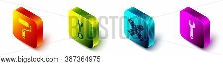 Set Isometric Paint Roller Brush, Wrench Spanner, Crossed Ruler And Wrench Spanner Icon. Vector