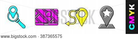 Set Search Location, City Map Navigation, Route Location And Map Pointer With Star Icon. Vector