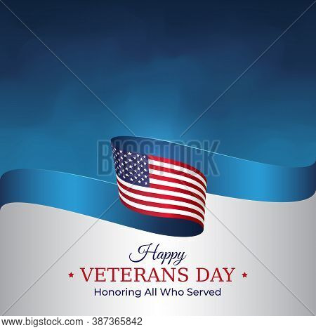 Happy Veterans Day Banner. Waving American Flag On Blue Sky Background. Us National Day November 11.