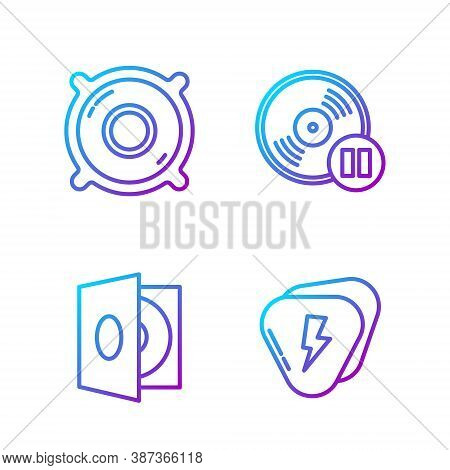 Set Line Guitar Pick, Vinyl Player With A Vinyl Disk, Stereo Speaker And Vinyl Disk. Gradient Color