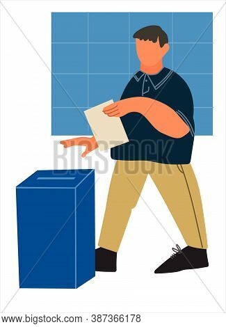 Casting Ballot At Polling Station. Man Putting Ballot Paper In The Box. Voting And Election Concept.