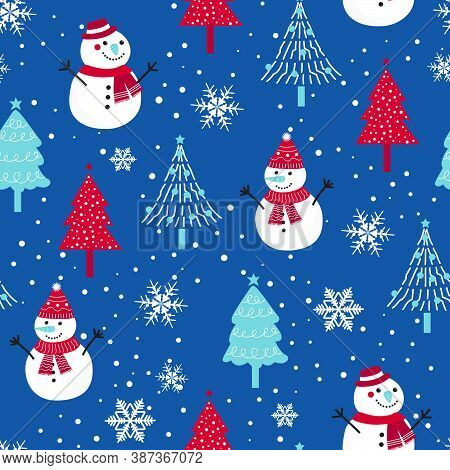 Christmas Seamless Pattern With Snowman Background, Winter Pattern With Snowflakes, Wrapping Paper,