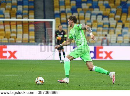 Kyiv, Ukraine - August 5, 2020: Wout Weghorst Of Vfl Wolfsburg Runs During The Uefa Europa League Ga